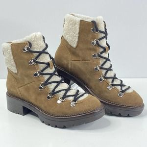 Marc Fisher Capell Shearling Lace Up Boot 6.5